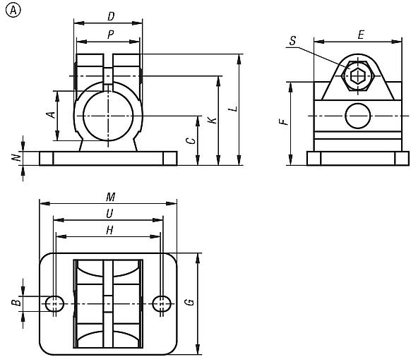 Tube clamps flange, stainless steel, Form A